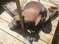 Western Leather Horse Saddle, Vintage Shabby, Wood Stirrups, Design Pattern