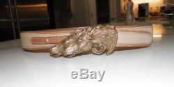 Woman's Vintage Gucci Double Horse Head Buckle Beige Canvas & Leather Belt 75-30