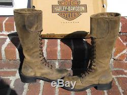 Women Vintage Harley-Davidson CRAZY HORSE Lace Boots sz 9 sz 40 EUR stk# HD0428