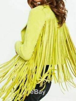 Women Vintage Yellowish Suede Leather Jacket Ladies Native Fringe Western Coat