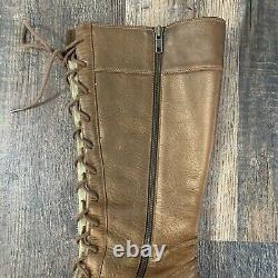 Womens 11M FRYE VILLAGER LACE Brown Leather Tall Lace Up Distressed Boots 77610