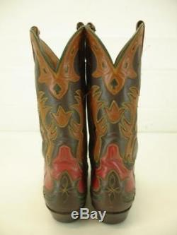 Womens 8.5 B M Vtg Ammons Handmade Cowboy Boots Cut-Out Inlay Red Brown Old West
