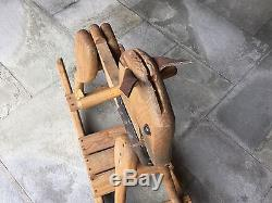 Wooden Rocking Horse Baby Rocker Vintage Toddler Pony Antique Rare Leather Ears