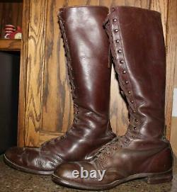 Ww 2 U S Army Cavalry Hightop Brown Leather Boots Sole Length 11 1/2 Vintage