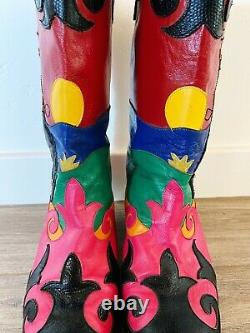 Zalo Cowgirl Boots Vtg 80's Leather Made In Spain Colorful Size 7.5 (fits 7)